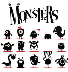 A lot of black monsters vector