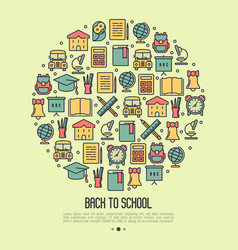 back to school concept with thin line icons vector image vector image