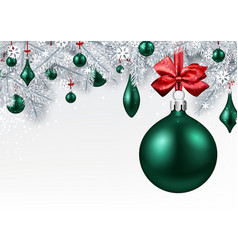 background with green 3d christmas ball vector image vector image