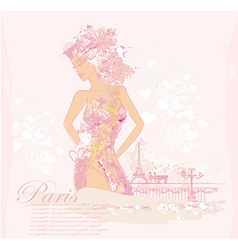 Beautiful abstract women in paris card vector