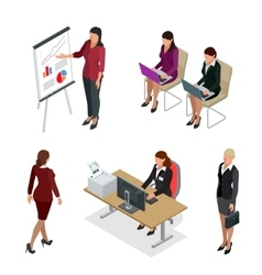 Business woman isometric set business woman vector