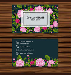 Businesscard template with pink roses on green vector