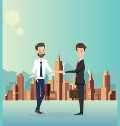 Businessman handshake with city background vector