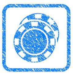 Casino chips framed grunge icon vector