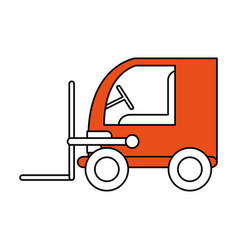 Color contour cartoon orange forklift truck with vector
