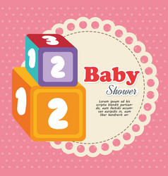 Cubes with numbers baby shower card vector