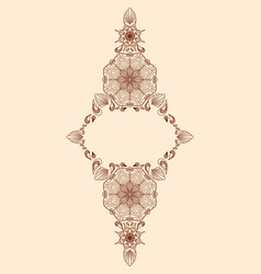 Decorative floral mandala frame element on beige vector