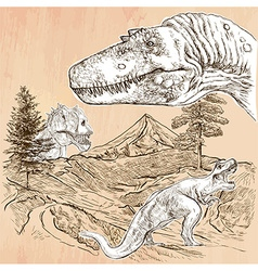 Dinosaurs - an hand drawn line art vector