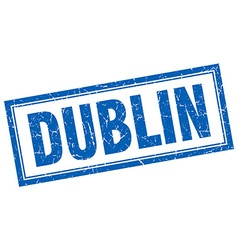 Dublin blue square grunge stamp on white vector