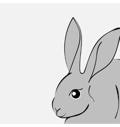Grey easter rabbit white background animal vector