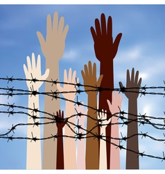 Hands Behind a Barbed Wire2 vector image vector image