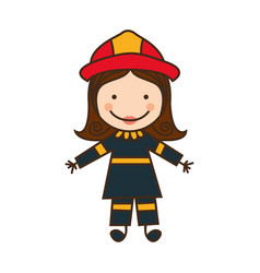 Happy woman firefighter icon vector