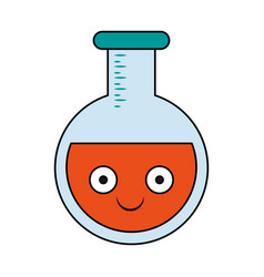 Laboratory flask isolated cartoon smiling vector