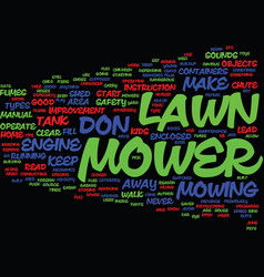 Lawn mower safety tips text background word cloud vector