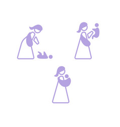 Logo mother with her baby in sling sling logotype vector