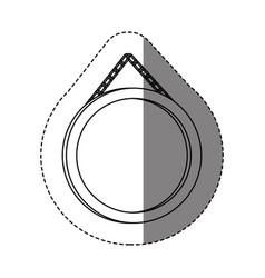 Monochrome contour sticker with circular frame vector