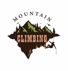 mountain climbing logo design vector image vector image