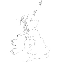 Outline map of the United Kingdom and Ireland vector image vector image