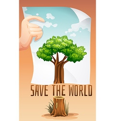 Save the world theme with tree and paper vector