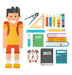 School supplies stationery equipment and schoolkid vector