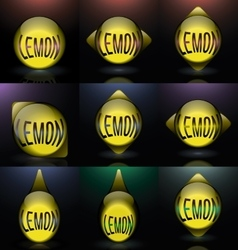 Set lemon glass sphere text logo vector
