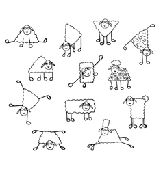 set of images of funny sheep vector image