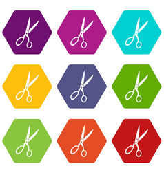 sewing scissors icon set color hexahedron vector image