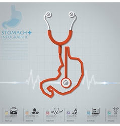 Stomach shape stethoscope health and medical vector