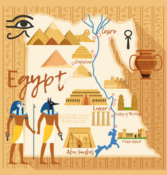stylized map of egypt with different cultural vector image vector image
