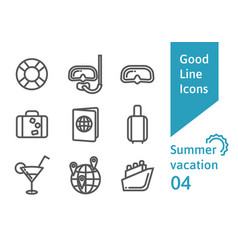 summer vacation outline icons set 04 vector image vector image