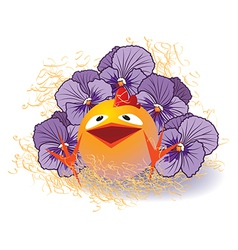 violet pansies and chicken vector image vector image