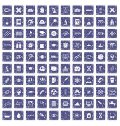 100 microscope icons set grunge sapphire vector