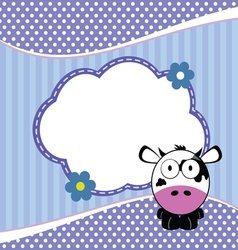 Banner for children with cow animal in blue vector
