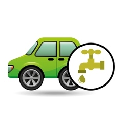 Eco car icon environment water vector