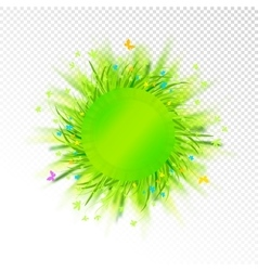 Abstract grass circle label on transparent vector