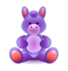 Cute purple horse soft toy isolated on white vector