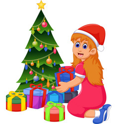 Funny girl cartoon with christmas gift and christm vector