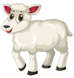White lamb on white background vector