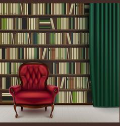 Home library interior vector