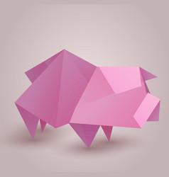 A paper origami pig paper zoo element f vector