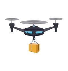 Remote air drone with a box flying delivery of the vector
