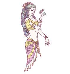 Tribal dancer or indian dancer girl in hand drawn vector
