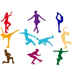 Varicoloured figure skaters vector