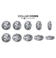 money dollar 3d silver coins set vector image