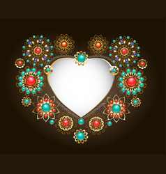Ethnic frame in the shape of heart vector