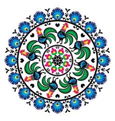 Polish traditional folk art pattern in circle w vector image