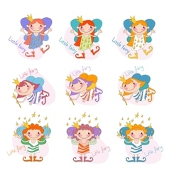 Set of funny girls fairies fairy girls vector