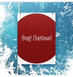 Christmas red poster template with snowflakes vector