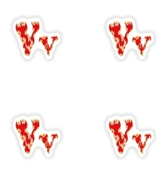 Assembly stickers fiery font red letter v on white vector