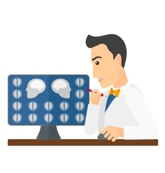 Doctor checking mri results vector